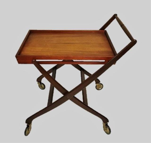 Danish Modern Teak Collapsible Tea Cart