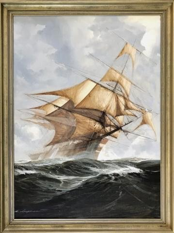 Painting, Oil on Canvas of Ship Under Sail