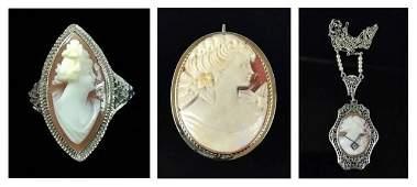 Antique Italian 14K Gold Shell Cameo Jewelry 3pc