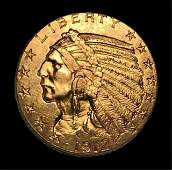 US 1912 $5.00 Indian Gold Coin, AU