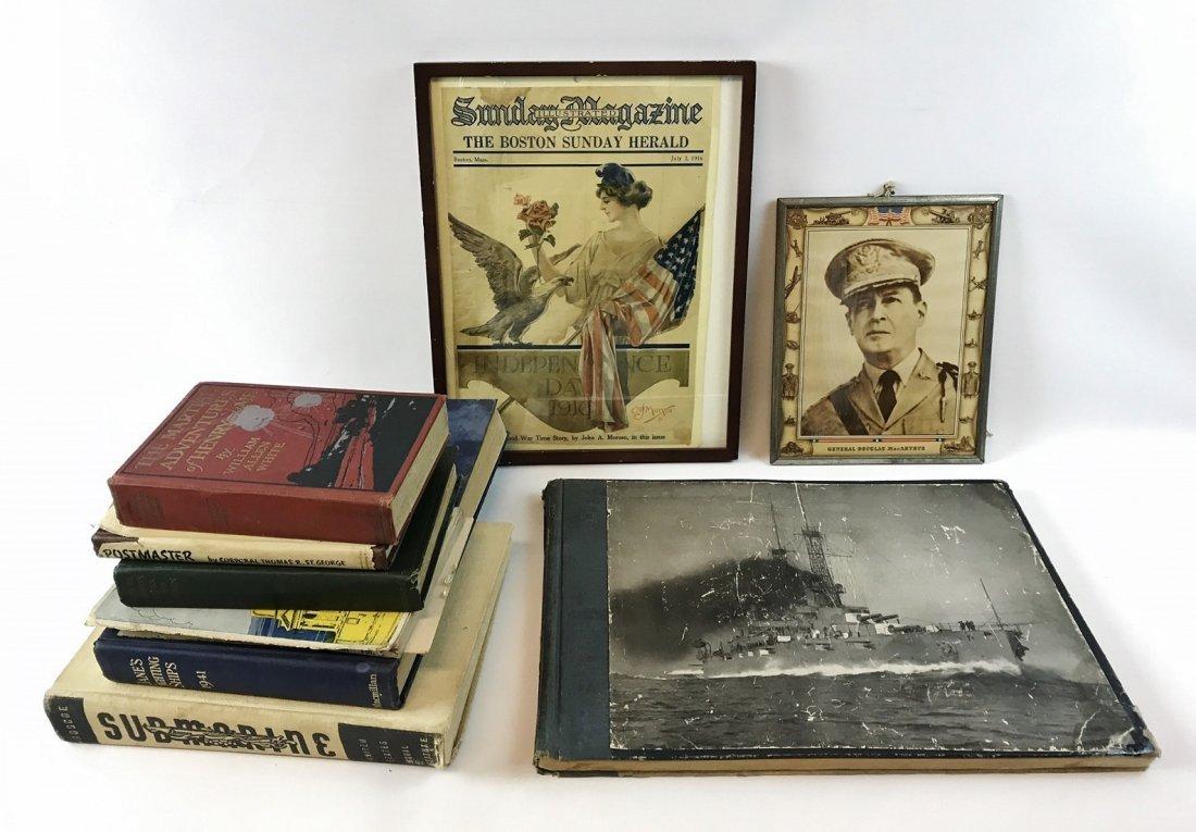 WW1 & WW2 US Navy Books & Prints (9pc)
