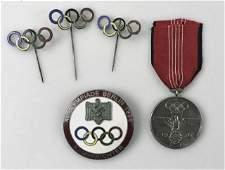 Berlin 1936 Olympics Badge, Medal & Pins (5pc)