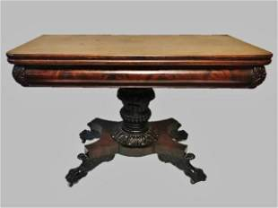 19th C. Carved Mahogany New York Games Table