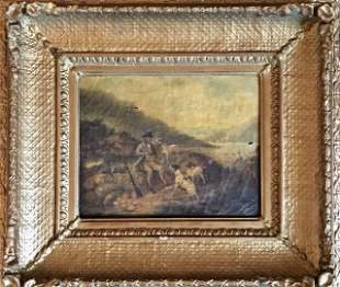 19th C. Painting, Oil on Canvas Hunting Scene
