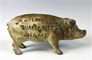 Antique Cast Iron Piggy Bank, Quaker City Hams