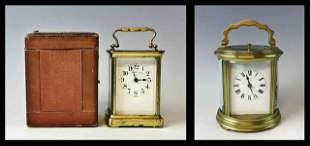 Antique French Carriage Clocks, (2pc)