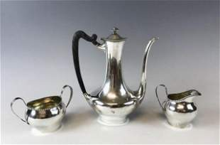 Antique Sterling Silver Three Piece Teaset, ATRB