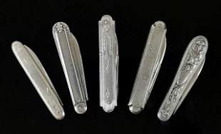 Antique British Serling Silver Pocket Knives (5pc)