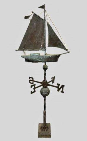Copper Sailing Ship Weathervane with Directionals
