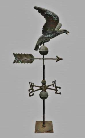 Copper Eagle Form Weathervane with Directionals