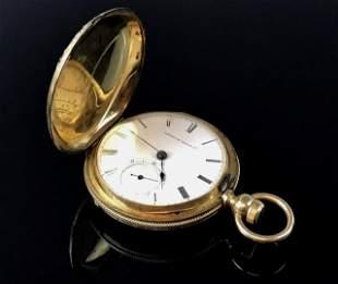 14K Gold Hunter Case Waltham Pocket Watch, 1873