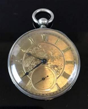 Antique Swiss Silver Pocket Watch, E & J Drop
