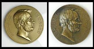 Bronze Abraham Lincoln, Memorial Medals (2pc)