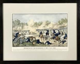 Lithograph Civil War Wilderness Battle, Currier