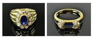 Two 14K Gold Diamond and Sapphire Rings