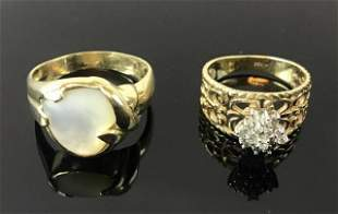 Two 14K Gold Mother of Pearl, Diamond Rings (2pc)
