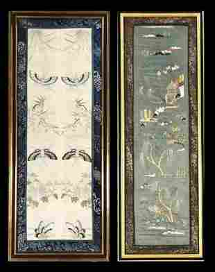 Antique Chinese Embroidered Silk Panels, (2pc)