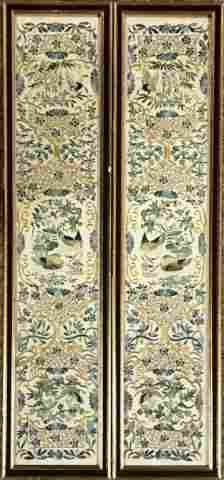 Pair Antique Chinese Embroidered Silk Panels (2pc)