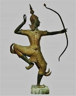 "Cast Bronze Statue of Hindu God Rama, Large 67"" H"