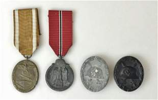 WW2 German Medals, Wound, Russia, West Wall, (4pc)