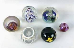 Collection of Signed Glass Paperweights, (6pc)