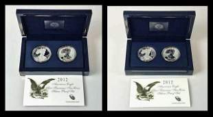 2012 S Mint Silver Eagle Two Coin Proof Sets (2pc)