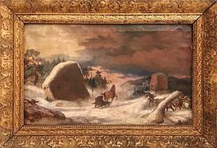 19th C. Painting, Oil on Canvas Winter Scene
