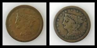 1851 P Coronet Head Half Cent, VG - F (2pc)
