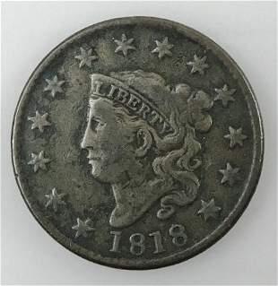 1818 P Coronet Head Large Cent,  F