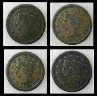 1849-1852  Coronet Head Large Cent VG-VF, (4pc)