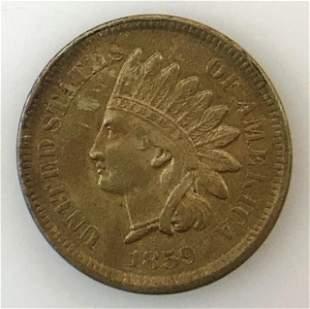 1859 P Indian Head Penny, AU