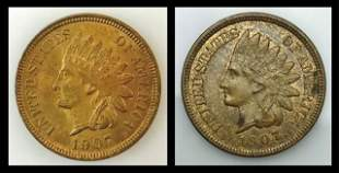 1907 P Indian Head Pennies, BU (2pc)