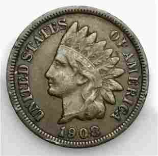1908 S Indian Head Penny, F - VF