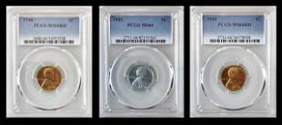 1940, 1943, 1945 Lincoln Pennies, PCGS MS66, (3pc)