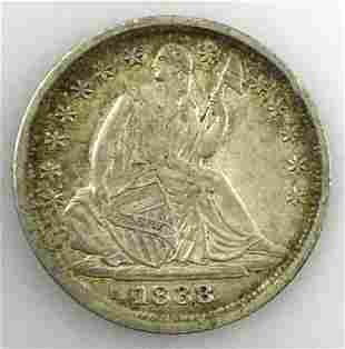 1838 P Seated Liberty Half Dime, AU
