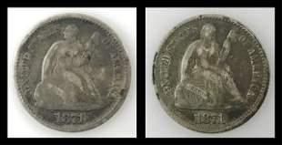 1871 P Seated Liberty Half Dime, F - VF, (2pc)