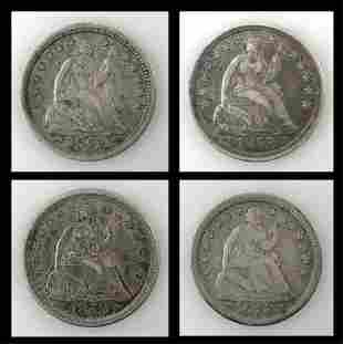 1853 P Liberty Seated Half Dimes, VG - VF (4pc)