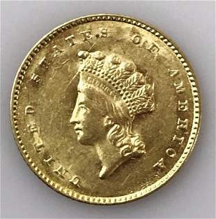1855 P $1 Gold Type II Indian Head Coin, AU - BU