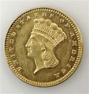 1876 P $1 Gold Type III Indian Head Coin, AU - BU