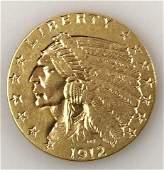 1912 P $2.50 Indian Head Gold Coin, AU