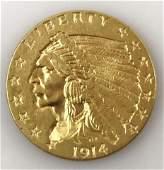1914 P $2.50 Indian Head Gold Coin, AU