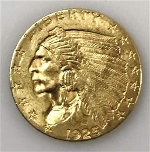 1925 D $2.50 Indian Head Gold Coin, AU
