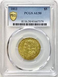 1813 P $5 Capped Liberty Gold Coin, PCGS AU50