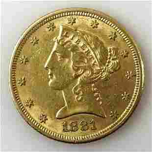 1881 P $5 Liberty Head Gold Coin, AU