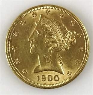 1900 P $5 Liberty Head Gold Coin, BU