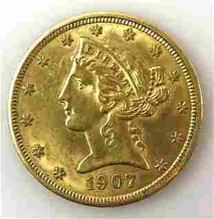 1907 P $5 Liberty Head Gold Coin,  AU