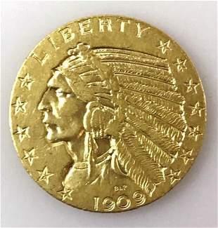 1909 P $5 Indian Head Gold Coin, XF - AU
