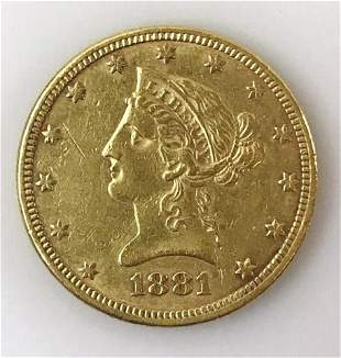 1881 P $10 Liberty Head Gold Coin, AU