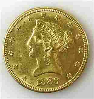 1886 P $10 Liberty Head Gold Coin, AU - BU