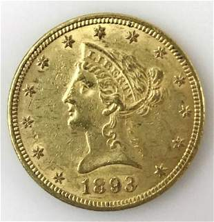 1893 P $10 Liberty Head Gold Coin, AU - BU